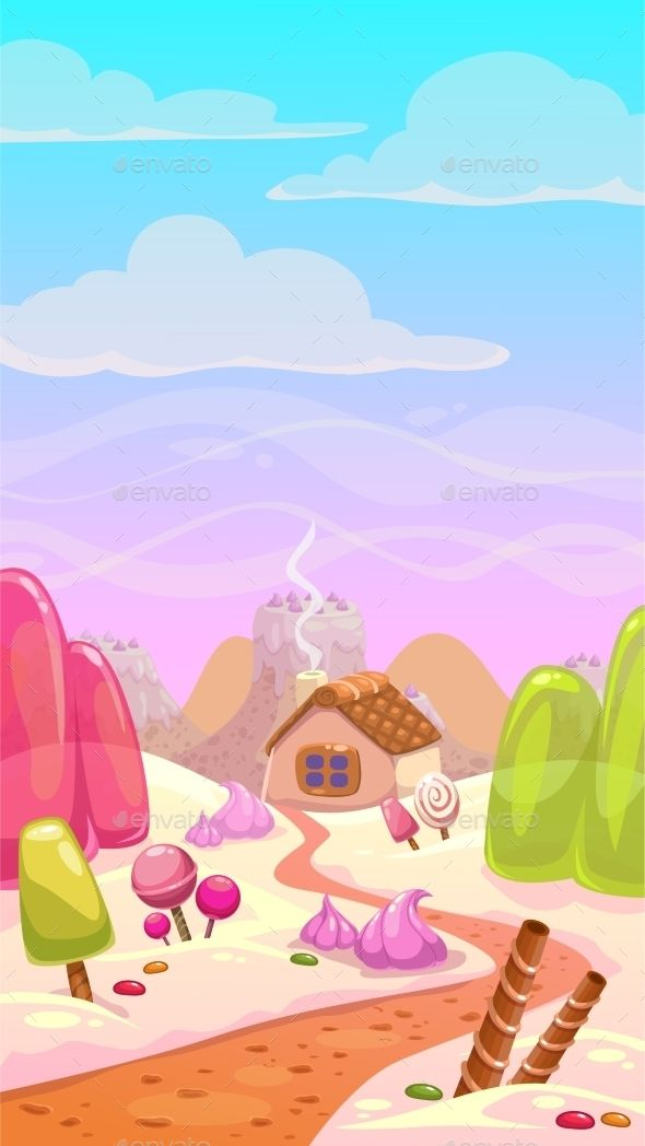 image black and white Vector candy landscape. World illustration by lilu