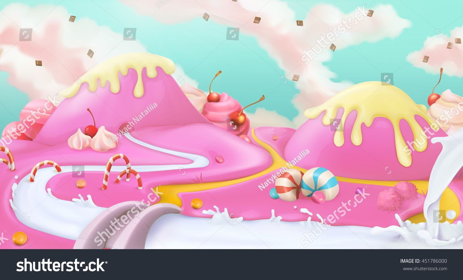 clip art black and white Land pink sweet d. Vector candy landscape