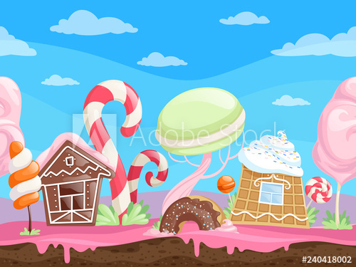 jpg black and white download Game seamless sweet fantasy. Vector candy landscape