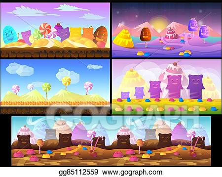 graphic black and white library Vector candy landscape. Stock cartoon fairy tale