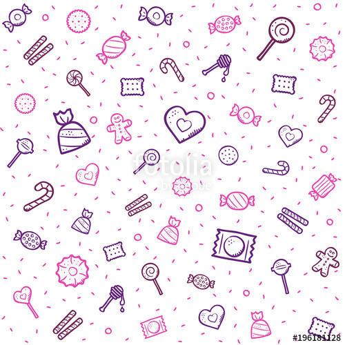 clip free Vector candy pattern. And sweets with colored