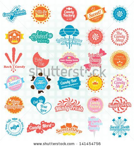 vector black and white stock Vector candy rock. Set sweets labels and