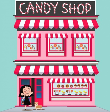 clip art black and white stock Vector candy shop. Free download for