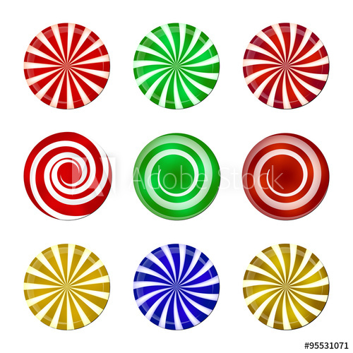picture transparent stock Vector candy spiral. Christmas striped set sweet