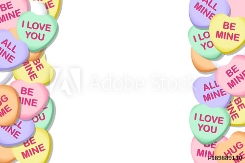 graphic transparent library Vector candy valentines day. Hearts background border buy