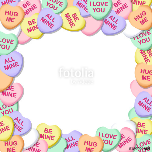 png Hearts square border stock. Vector candy valentines day
