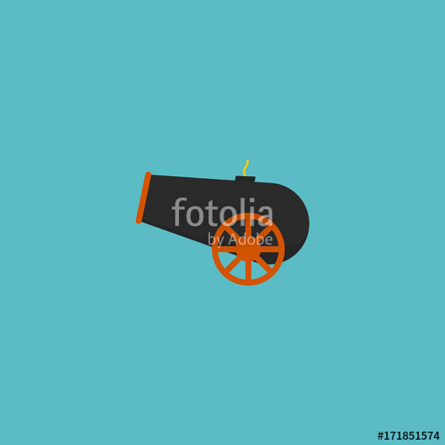 graphic royalty free library Vector cannon artillery. Flat icon element illustration
