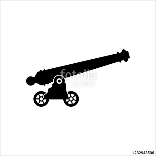 picture royalty free stock Icon weapon old style. Vector cannon silhouette