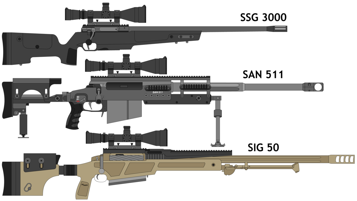 png black and white stock Vector carbine 3d printed. Some swiss sniper rifles