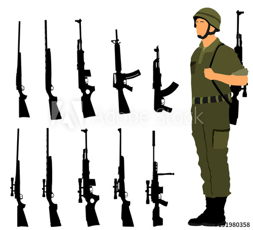 png black and white download Vector carbine army rifle. Saluting soldier with on