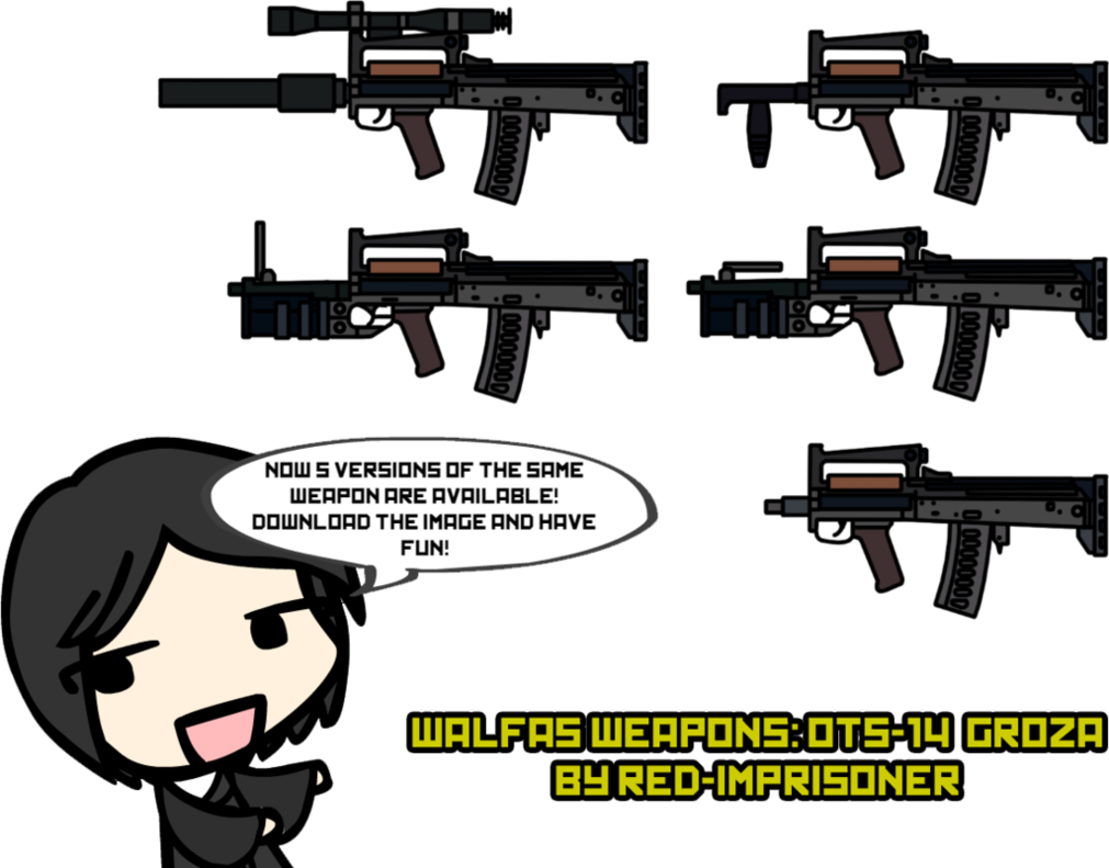 jpg freeuse library Walfas weapons ots groza. Vector carbine grenade launcher