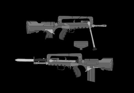 vector freeuse stock Famas wikipedia rubber buttpad. Vector carbine prototype