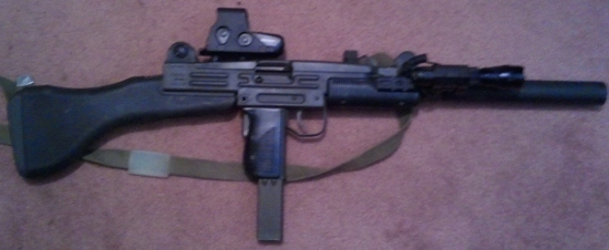 image black and white stock Mm review gun reviews. Vector carbine uzi