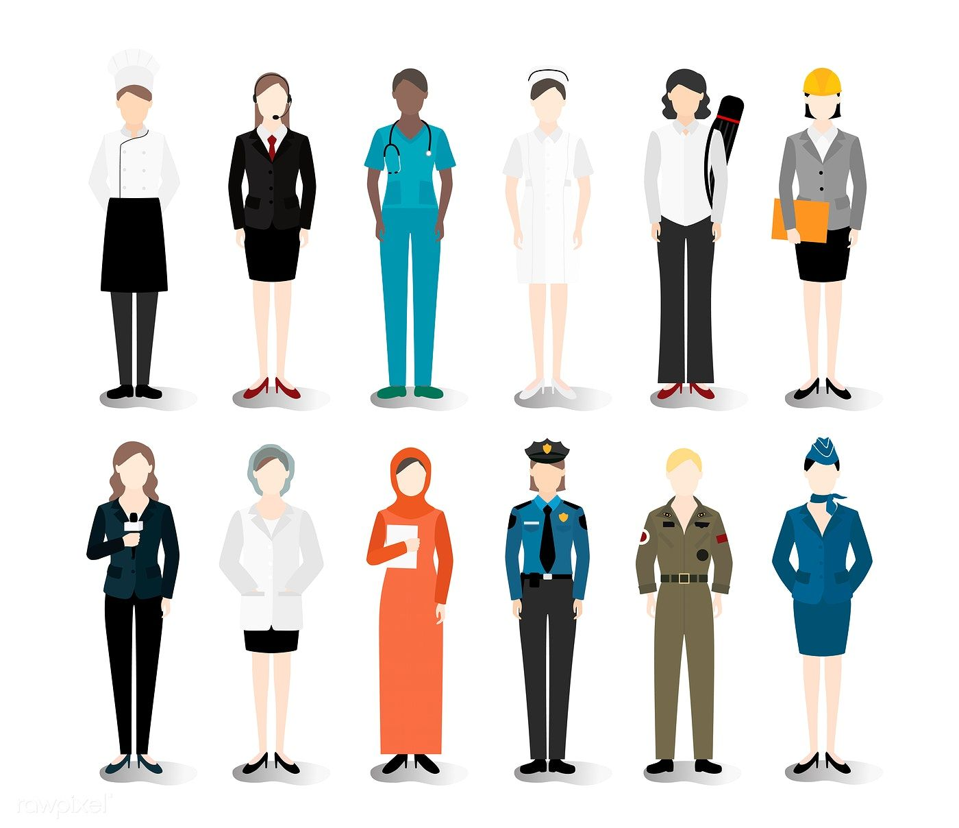 clip art stock Vector careers illustration. Of various and professions