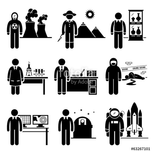 clip freeuse Vector careers occupations. Scientist professor jobs stock