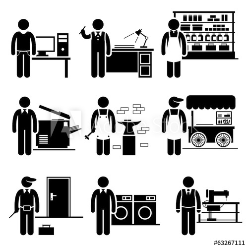 png transparent download Self employed small business. Vector careers occupations