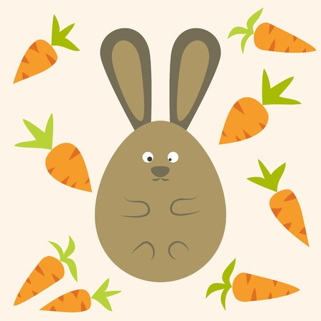 banner black and white library Strange flat stylized egg. Vector carrot bunny