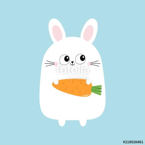clip art transparent stock Vector carrot bunny. White rabbit holding funny