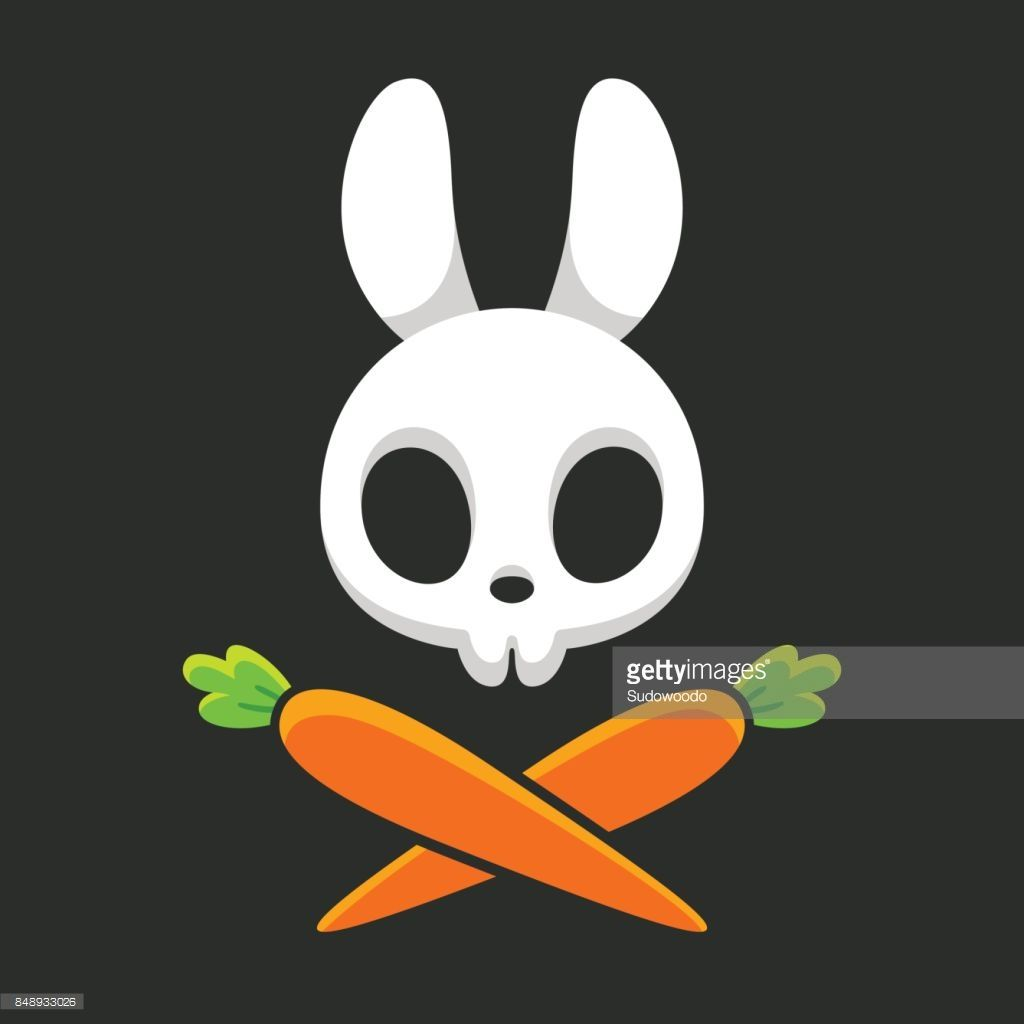 picture black and white Art rabbit skull with. Vector carrot bunny