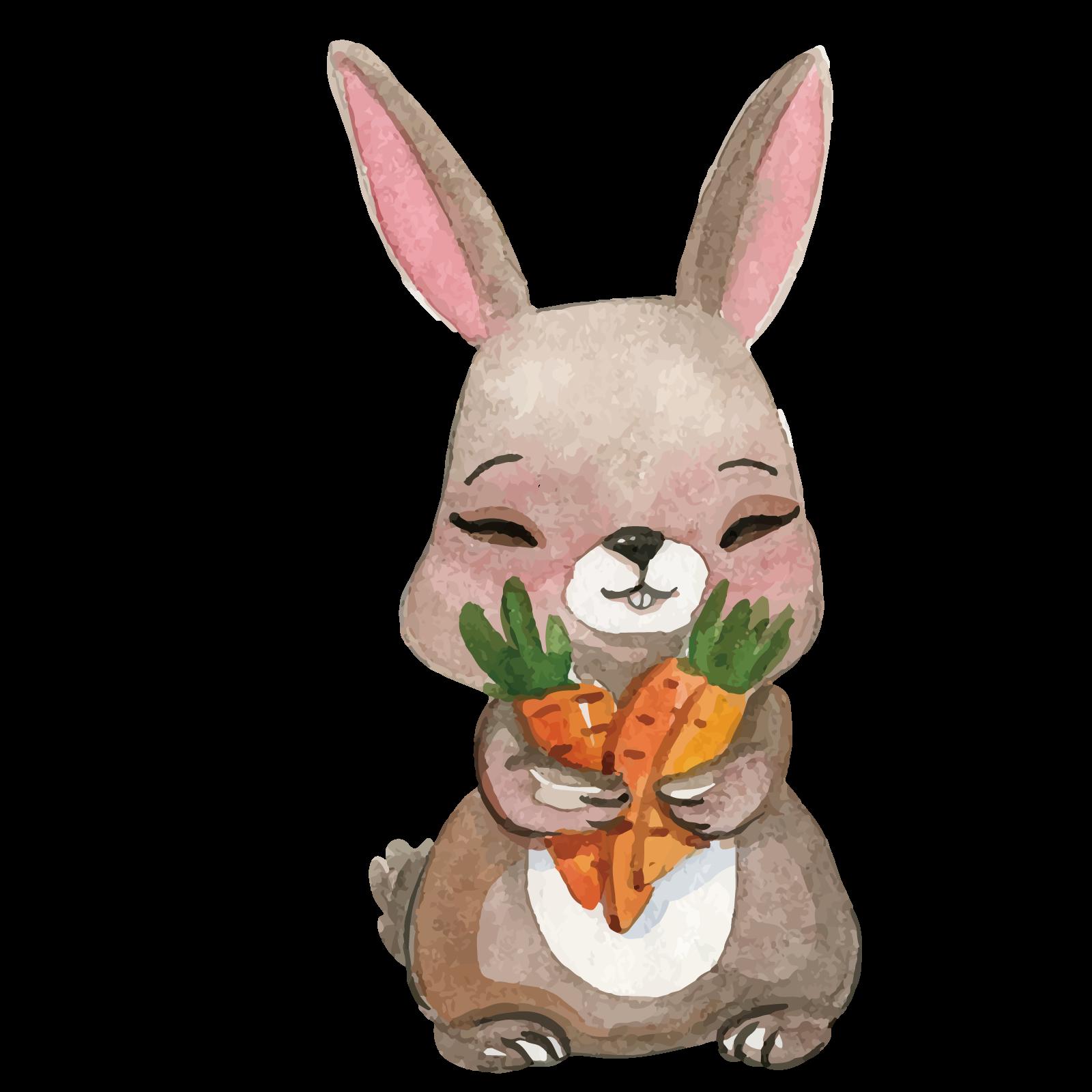 svg stock Vector carrot bunny. Cartoon watercolor painting illustration