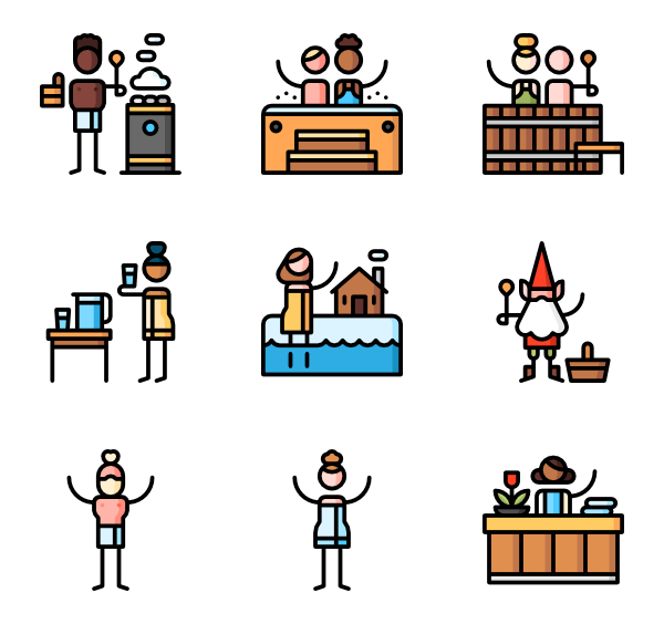 banner free library Spa icons free sauna. Vector cartoons body