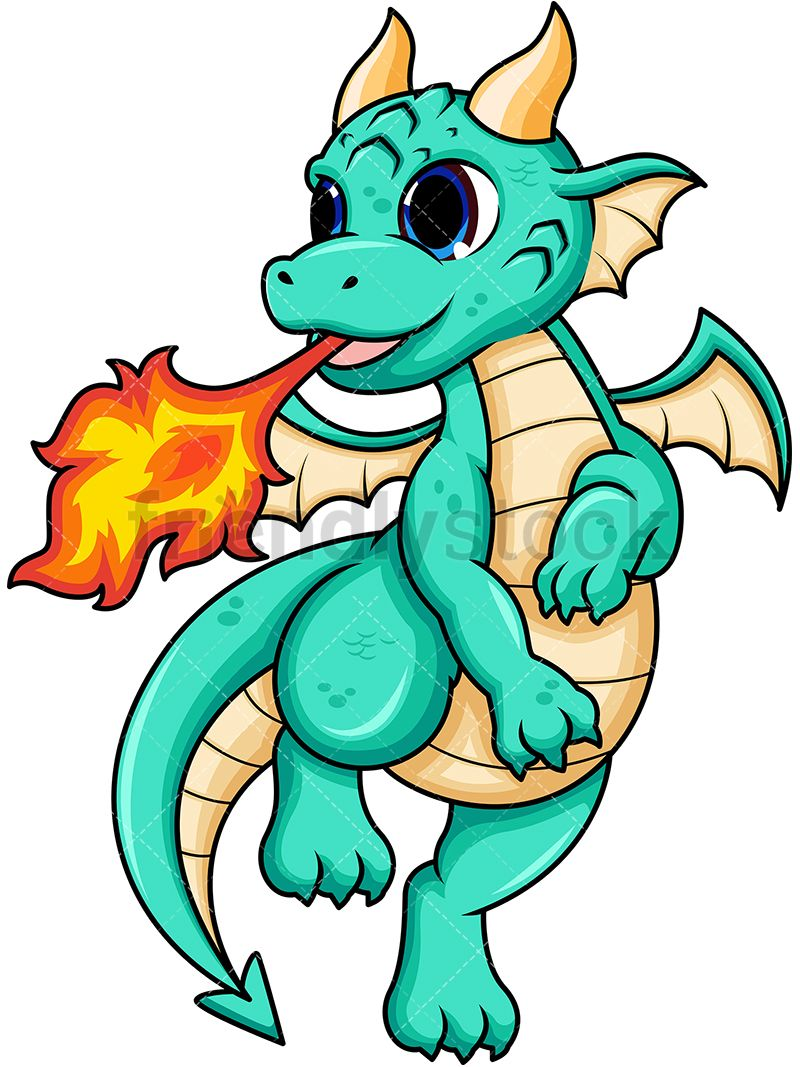vector transparent download Female breathing fire in. Vector cartoons dragon