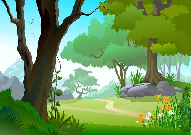 graphic library download Cartoon meadow landscape background. Vector cartoons forest