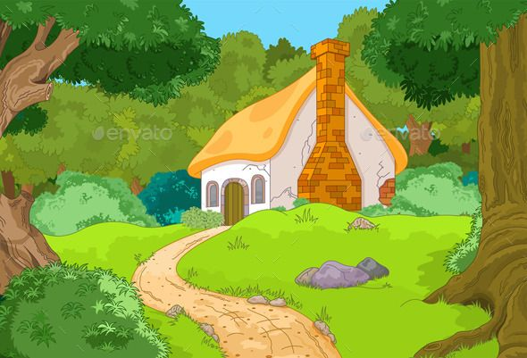 image free library Cartoon cabin eps cs. Vector cartoons forest