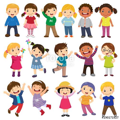 picture transparent stock Happy kids cartoon collection. Vector cartoons kid