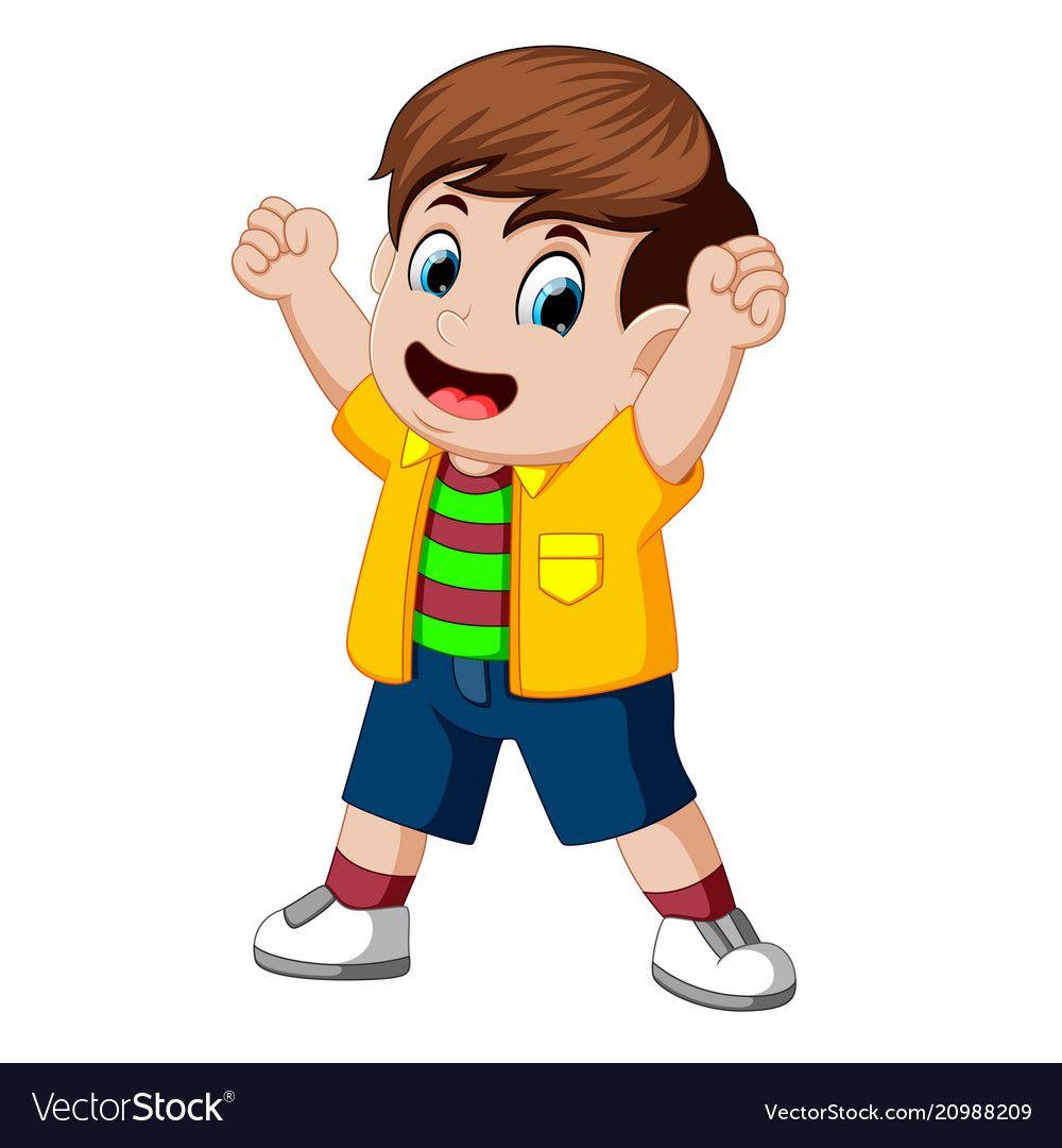 black and white library Vector cartoons kid. Happy cartoon royalty free