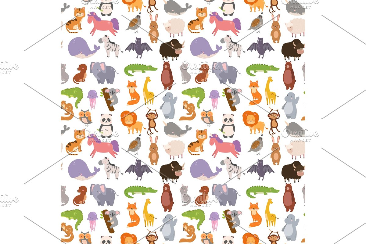 picture black and white stock Animals cartoon wildlife nature. Vector cartoons pattern