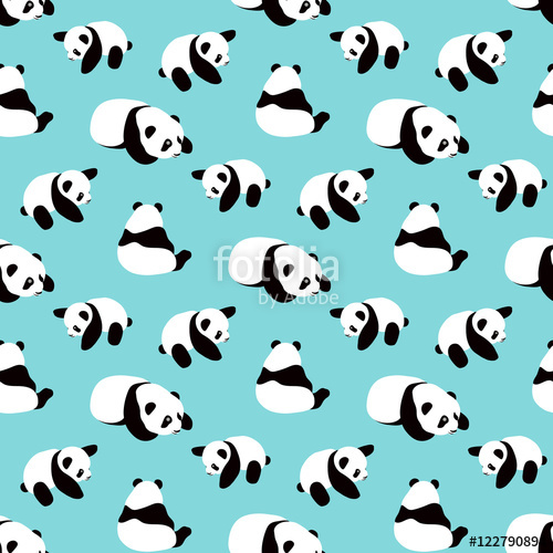 vector black and white library Vector cartoons pattern. Panda bear background seamless