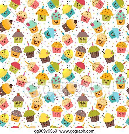 svg library Illustration birthday background kawaii. Vector cartoons pattern