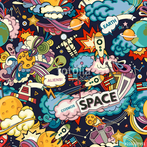 clip art black and white stock Vector cartoons pattern. Cosmos background cartoon seamless