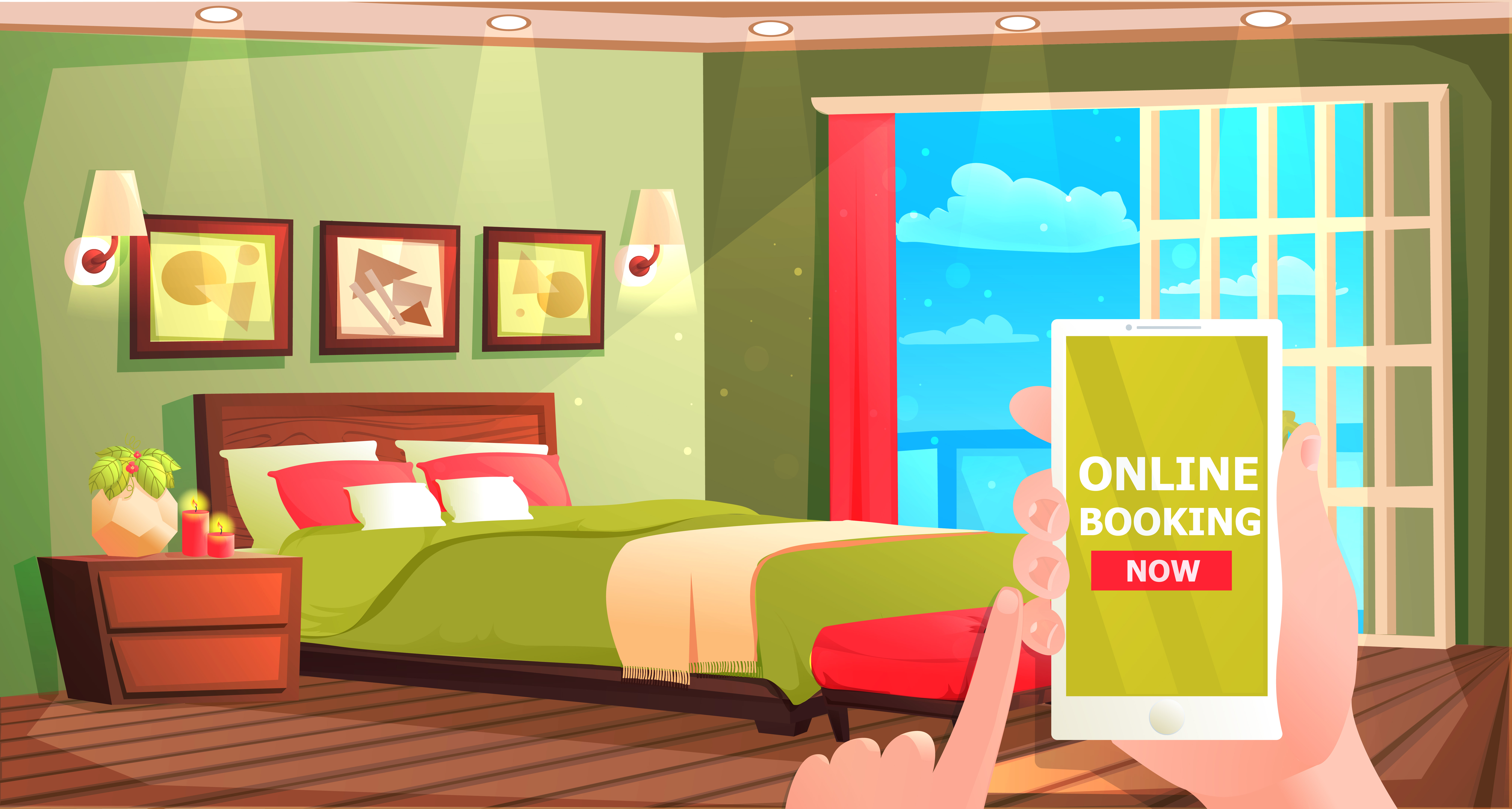clipart freeuse stock Hotel online booking banner. Vector cartoons room