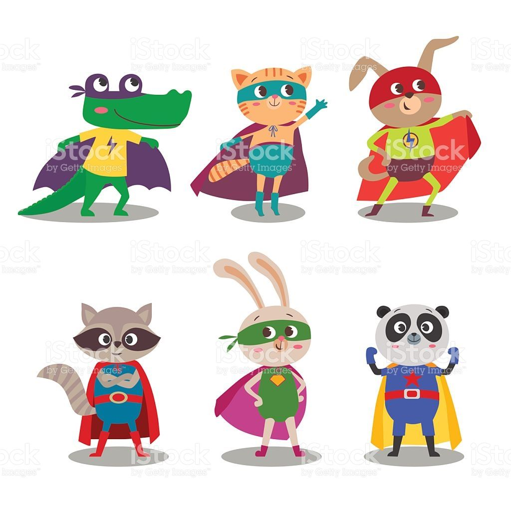 picture free stock Vector cartoons superhero. Animal kids cartoon illustration