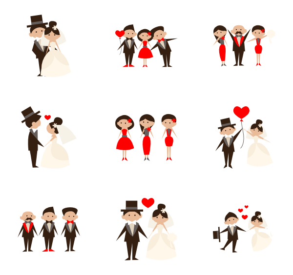 vector freeuse  people collection png. Vector cartoons wedding