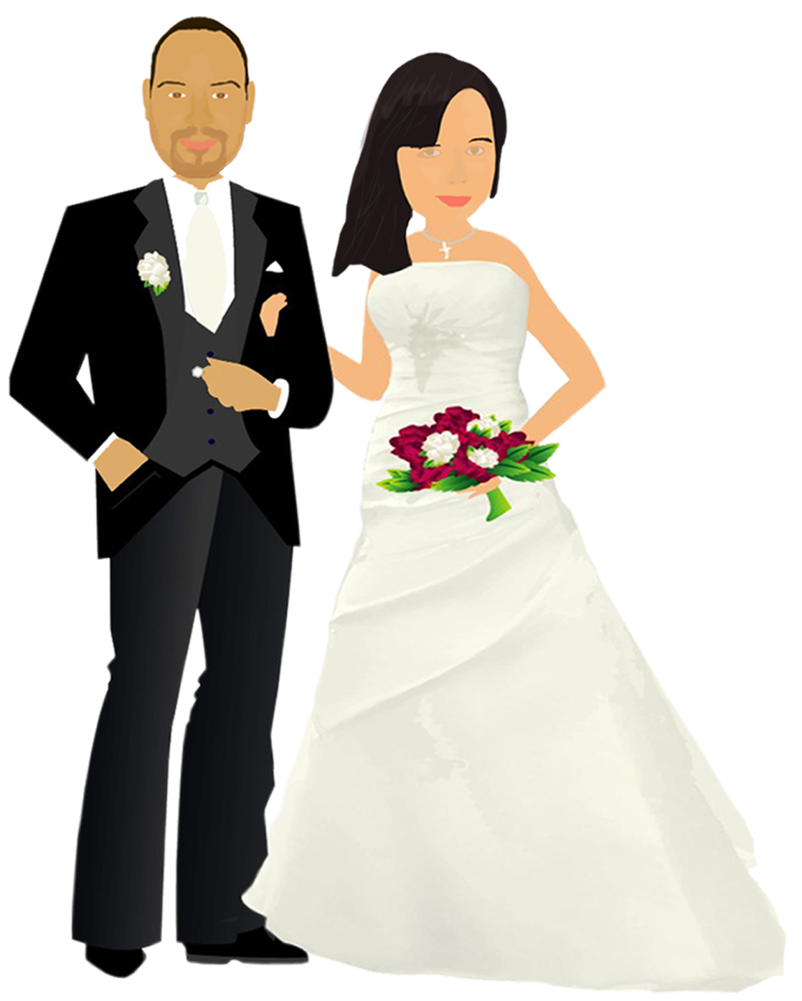 graphic black and white stock Vector cartoons wedding. Couple cause a scene