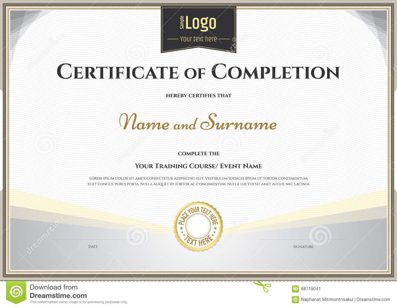 image black and white library Of completion template in. Vector certificate achievement