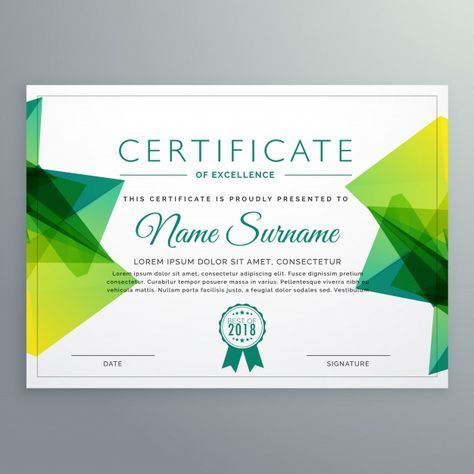 jpg free stock Polygonal green template free. Vector certificate achievement