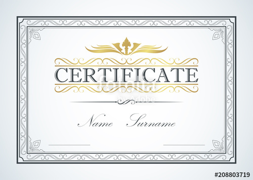 vector stock Border frame template guide. Vector certificate classic