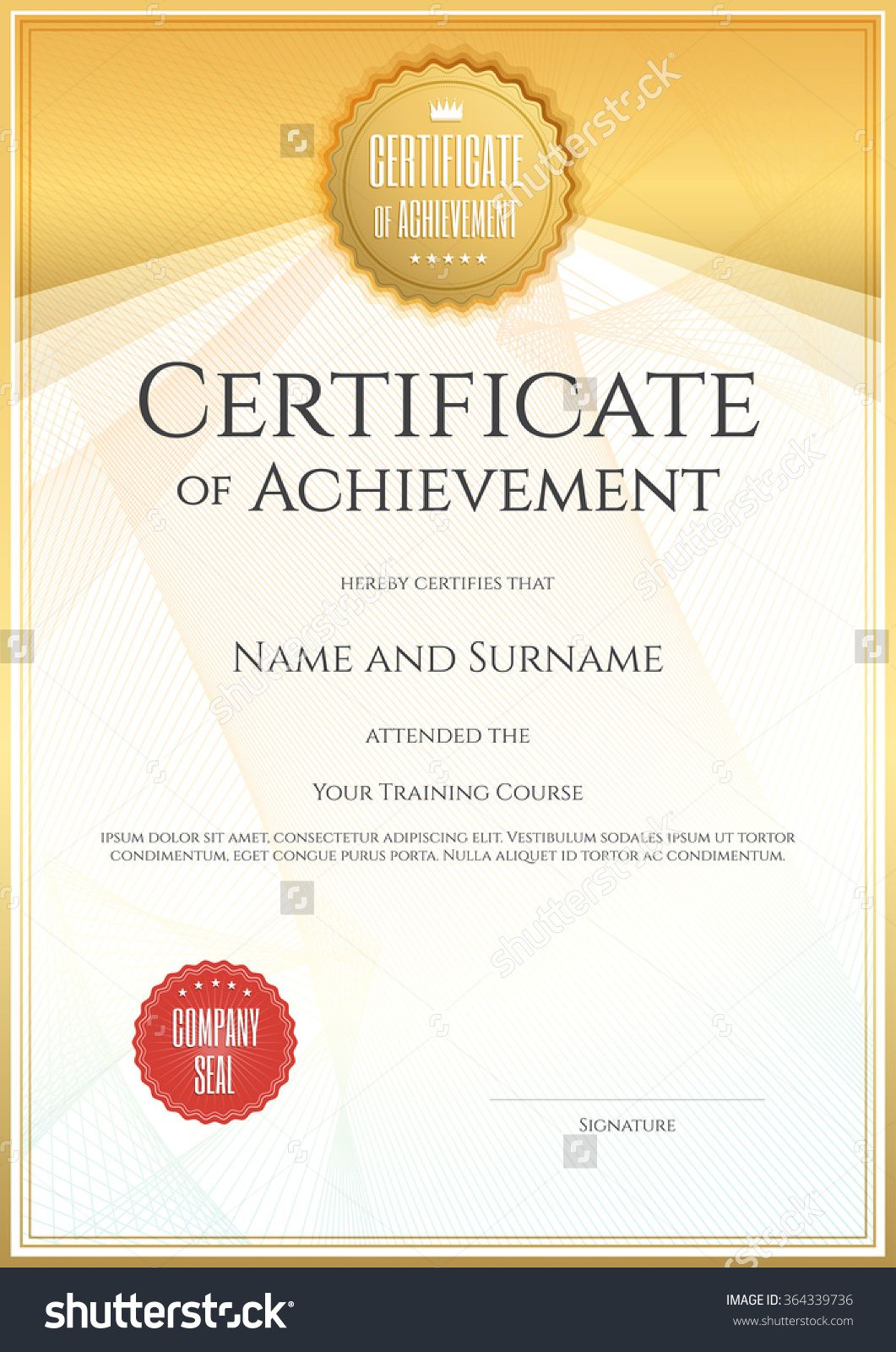royalty free stock Design format sample of. Vector certificate completion