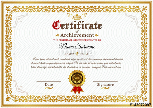 svg freeuse Vector certificate ornament. Template on awarding design