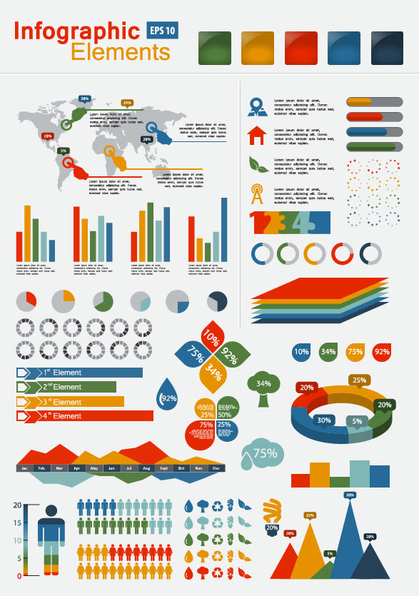 jpg royalty free Vector chart infographic. Set of infographics and