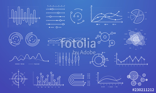 clip royalty free Vector chart modern. Linear graph thin line