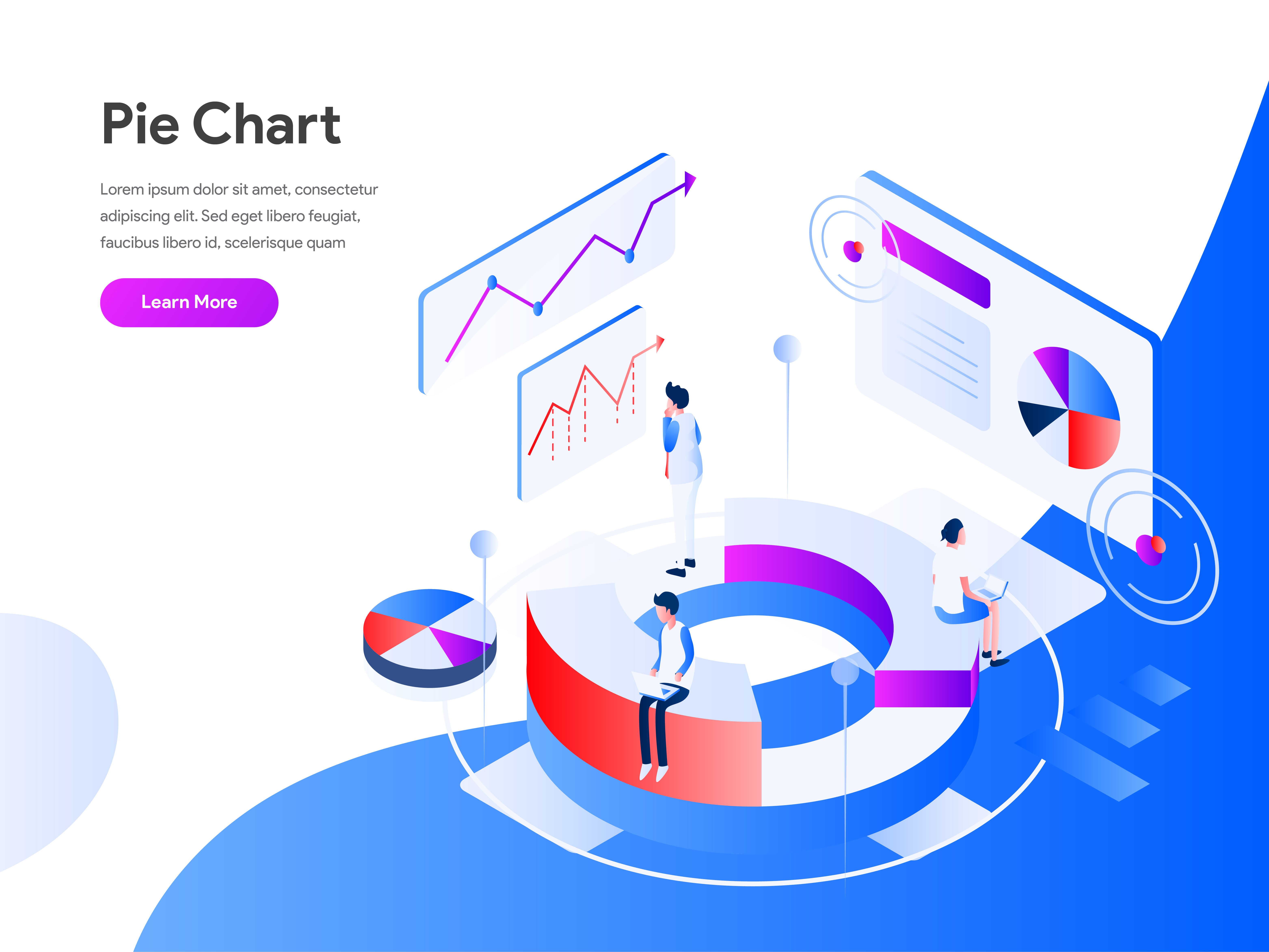 banner library stock Vector chart modern. Pie isometric illustration concept
