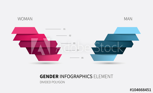 transparent stock Vector charts comparison. Gender infographics object modern
