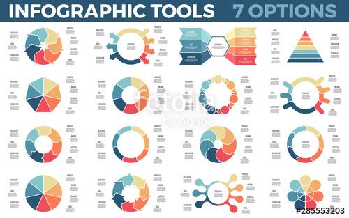 clip black and white library Vector charts data. Infographics circular diagrams visualization