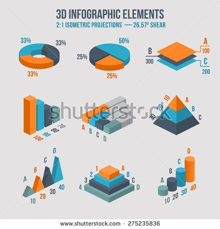 clipart black and white library Isometric d pie chart. Vector charts data