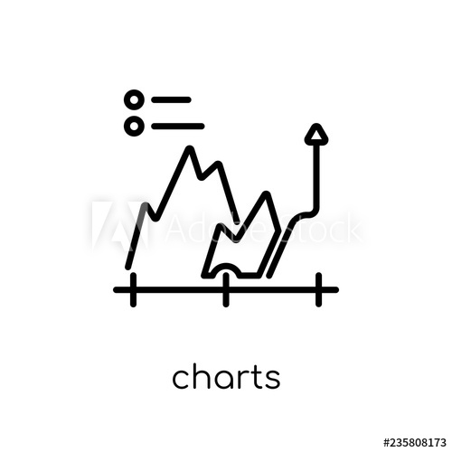 svg freeuse Icon trendy flat linear. Vector charts modern